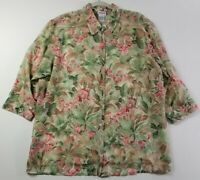 Bon Worth Womens Long Sleeve Button Down Shirt Large L Multicolor Floral Sheer