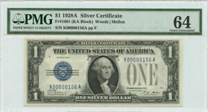 1928A $1 Silver Certificate PMG Choice UNC 64 Fr #1601 Low Serial #