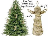 Pier 1 Christmas Tree Ornaments Holiday Wreath Decoration Farm Set of 6 Vtg Lot
