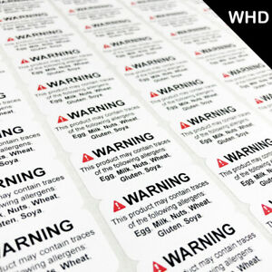 NEW STYLE - FOOD ALLERGEN WARNING STICKERS ALLERGY Labels Stickers Self Adhesive