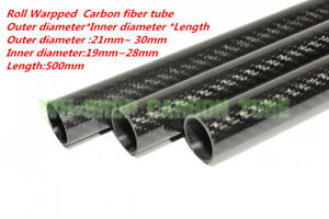 3K Carbon Fiber Tube OD 21 22 23 24 25 26 27 28 29 30mm x L500mm Roll Wrapped