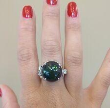 New Huge Custom 14 ct radiant Ethiopian black welo opal Diamond & Platinum ring
