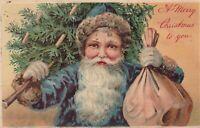 Blue Robe~ Santa Claus & Tree Nicely Embossed PFB Christmas - Postcard-p599