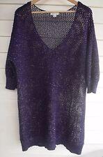 Autograph Women's Purple Black & Silver Metalic Knit Jumper - Size S