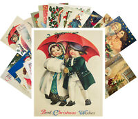Postcards Pack [24 cards] Vintage Christmas Cute Funny Kids with Santa CF7003