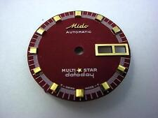 Burgandy Mido Automatic Multi Star Datoday Vintage Watch Dial 25.42mm Gold Mrkrs
