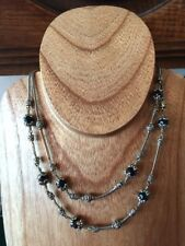 BRIGHTON GLASS MOUNTAIN Silver Black Double Strands NECKLACE