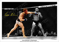 CONOR MCGREGOR SIGNED PRINT POSTER PHOTO UFC 189 MENDES MONTAGE KNOCKOUT