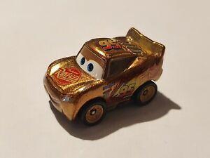Mattel Pixar Cars Mini Racers Gold Lightning Mcqueen