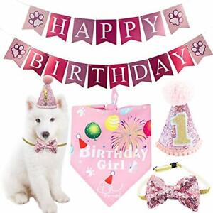 Dog/s 1st Birthday Hat Bandana Bowtie Banner Set For Girls Pet Party Decoration