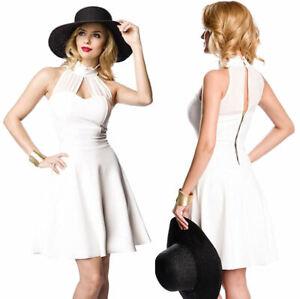 Braut-Minikleid Damen Sommerkleid Abendkleid A-Linie Cocktail-Kleid in weiß