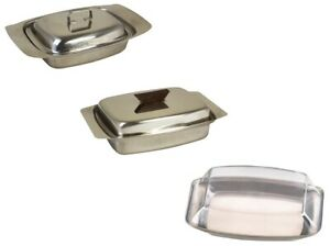 Butter Dish Kitchen Breakfast Stainless Steel/Plastic Tray Holder Container Lid