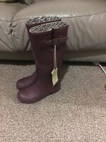 Fatface Womens Wellies Size 4 Boots Birds Tall Purple