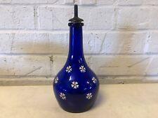 Ant Barber Bottle Cobalt Blue with White Enamel Flower Decorations and Stopper