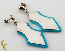 With Turquoise Accsents Earrings .925 Sterling Silver Shield Shaped