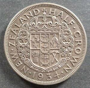 New Zealand - George V, Silver Half Crown, 1934, toned