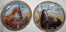 Golden Treasure & Treasured View Danbury Mint On The Range Horse Plates