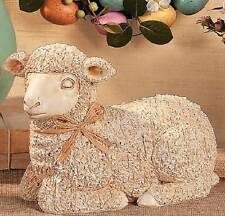"Spring Easter Lamb Indoor Table Statue Outdoor Decoration w/ Raffia Bow 9""L 8""H"