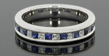 1.40 CTW Blue Sapphire & Diamond Wedding Band 14 kt Solid White Gold Size 4-13.