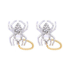 E1035 BETSEY JOHNSON Sparkle Silver Spider with Gold Ring Insect Earrings US