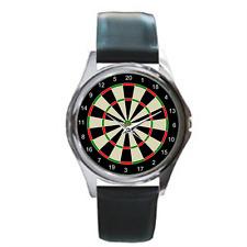 Reloj Pulsera Deportivo Dardos Análogo Reloj con correa de cuero negro con diversión Tablero De Dardos