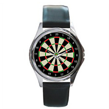Sports Darts Wrist Watch Analogue Black Leather Strap Watch with Fun Darts Board