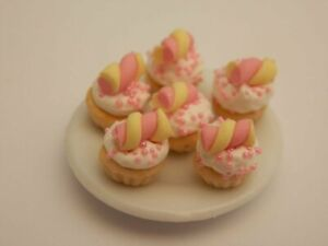 Dolls house food: Plate of marshmallow   cupcakes   -By Fran