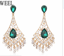 green   /clear   CRYSTAL TEAR DROP  BRIDAL/PROM   DANGLE EARRING V08CB5 9 E15