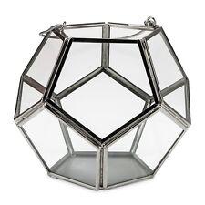 Windlicht Metall Glas für Teelicht Stumpen Kerze 14cm Silber Kugel Eckig Laterne