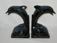 Blue Mountain Pottery (2) Pair Dolphin Bookends Cobalt Blue, 8 3/4""