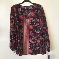 Zac & Rachel Womens Black Red Paisley Boho Peasant Floral Blouse Plus Size 2X