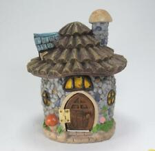 """Faux Stone Fairy Gnome House with Log Roof & Brown Dooor Garden Decor 8"""" Tall"""