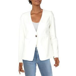 DKNY Womens Ivory Collarless One-Button Blazer Jacket Petites 4P BHFO 7607