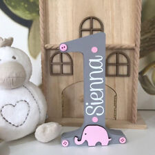 1st Birthday Personalised Number Freestanding with Elephants Baby Girl Baby Boy