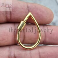 Pear Shape Yellow Gold Plating Sterling Silver Designer Carabiner Lock Jewelry