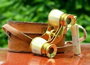 Vintage Nautical Brass Mother of Pearl Binocular Maritime  Prat With Leather box