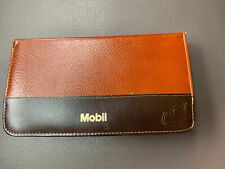 Vintage Mobil Oil Compact Zippered Travel Office Supply Kit Bonded Leather