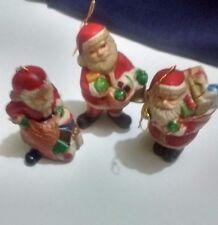 Vintage 1983 Ceramic ROC Santa Xmas Tree Ornaments or Table Figurines Lot of 3
