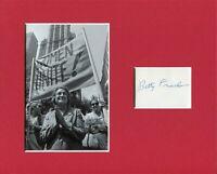 Betty Friedan Author Feminist Women's Movement Signed Autograph Photo Display