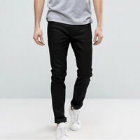 Jeans Uomo Casual Denim Nero Pantalone 5 Tasche Slim Fit 44 46 48 50 52 54