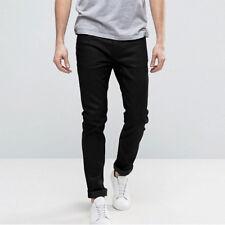 Vaqueros De Hombre Casual Denim Negro Pantalones 5 Bolsillos Slim Fit 44 46 48
