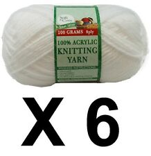 Knitting wool 6 x 100g acrylic yarn 8ply Pure White 100% Brand New