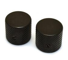 """(2) Black Vintage Barrel Knobs for Tele® & P Bass® 1/4"""" Solid Shaft MK-0115-003"""