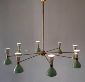 Huge Italian Chandelier Style Stilnovo Mid Century 8 Arms Sputnik Ceiling Lights