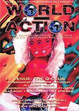 WORLD IN ACTION Rave Flyer Flyers A5 11/12/93 The Que Club Birmingham