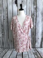 41 Hawthorn Stitch Fix Seely Wrap Front Knit Top Size 2X Plus Pink White Floral