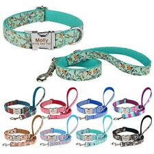 Dog Collar Dog Leash Personalized Free Engraved ID Name Adjustable Dog Lead XS-L