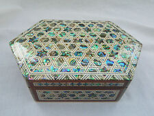 "Egyptian Inlaid Mother of Pearl Paua Wood Stars Jewelry Box Polygon 7.75"" #730"