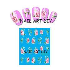20 stickers nail art water transfer-unghie adesivi TATTOO fiori rosa !!!