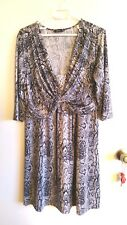 Metro draped stretch dress 3/4 sleeve grey white snakeskin pattern size 16
